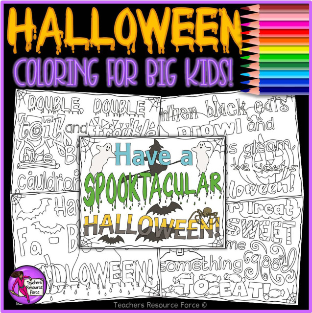 halloween colouring pages super fun and relaxing for teens