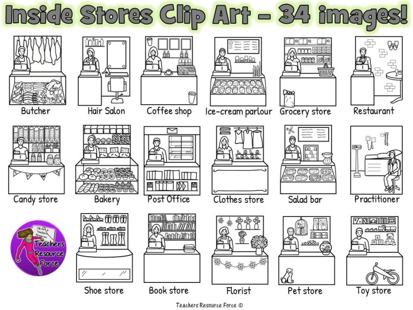 Inside stores clip art - color and black line 34 images!