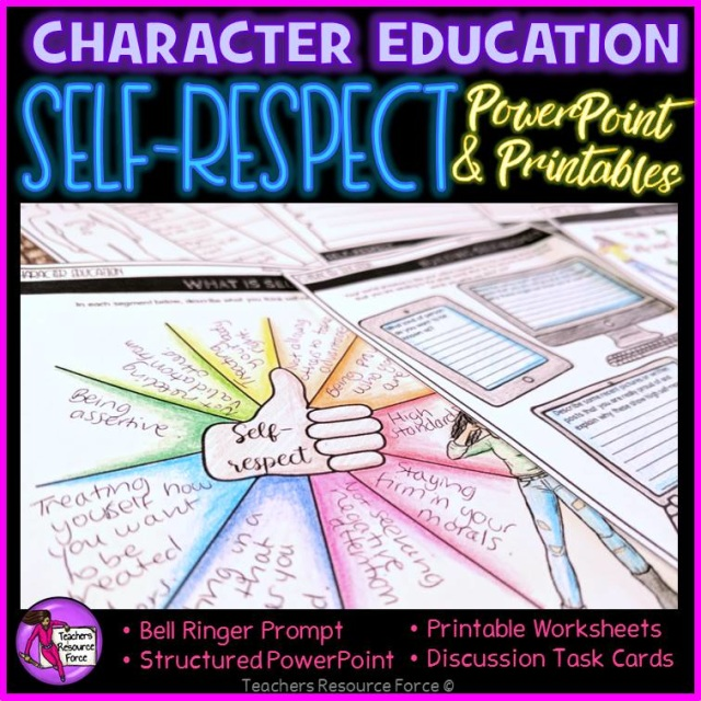 picture regarding Printable Task Cards named Self-Value Lesson: Persona Education and learning (PowerPoint, Activity Playing cards  Printables)