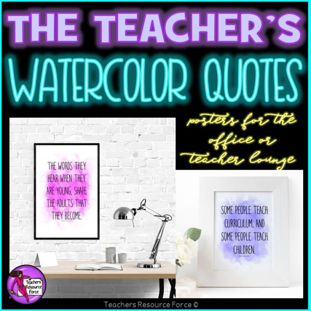 Classroom Decor For Teachers ~ Teacher watercolour quote posters for your office or the