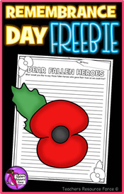 Remembrance day resource freebie