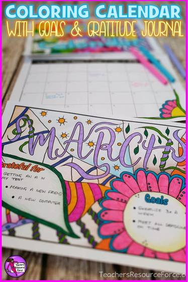Colouring calendar with goals and gratitude journal