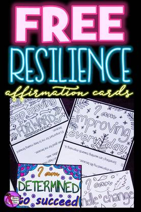 Are you interested in being an inspirational teacher who helps your students develop their resilience and strong mental health?   These colouring affirmation cards not only offer a mindfulness opportunity to colour in and reflect on the affirmation, but they also have a key step that helps the brain find evidence to back up the affirmation statement making it more likely to be believed and thus actually work towards changing the attitude!  What's more, they come in 2 sizes ideal for wallets, pinboards, lockers, planners and can be laminated and kept for years to come as a reminder to always be resilient and keep going when things get tough.  ​You can get these 5 cards for free right now by clicking the link