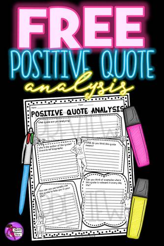 Are you a fan of using positive quotes in your lessons to inspire your students and help build classroom community? To really get students reflecting on the quotes, they need to be analysing them and applying them to their own lives, so this quote analysis will help them get the most out of any quote! You can get this for free right now!