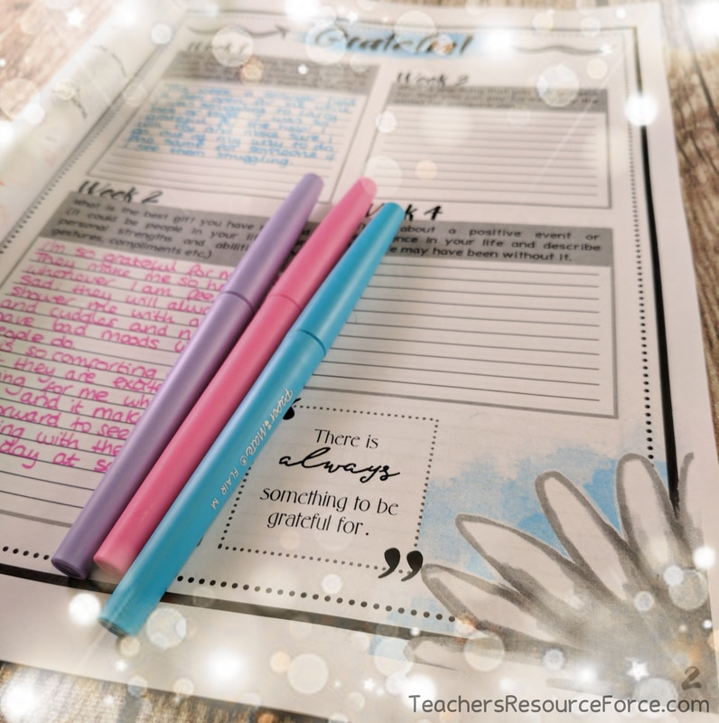 Printable and digital gratitude journal for the whole year @resourceforce