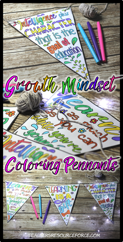 Growth Mindset Coloring Pennants @resourceforce