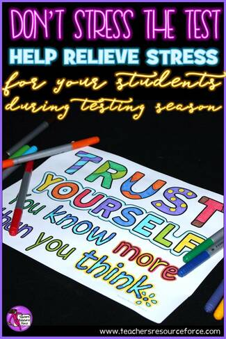 Don't Stress The Test: help relieve stress for your students during testing season! @resourceforce #donstressthetest #testprep #mindfulcoloring #teachersresourceforce