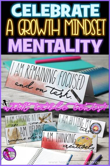 How to celebrate a growth mindset mentality in your classroom using motivational table tents @resourceforce