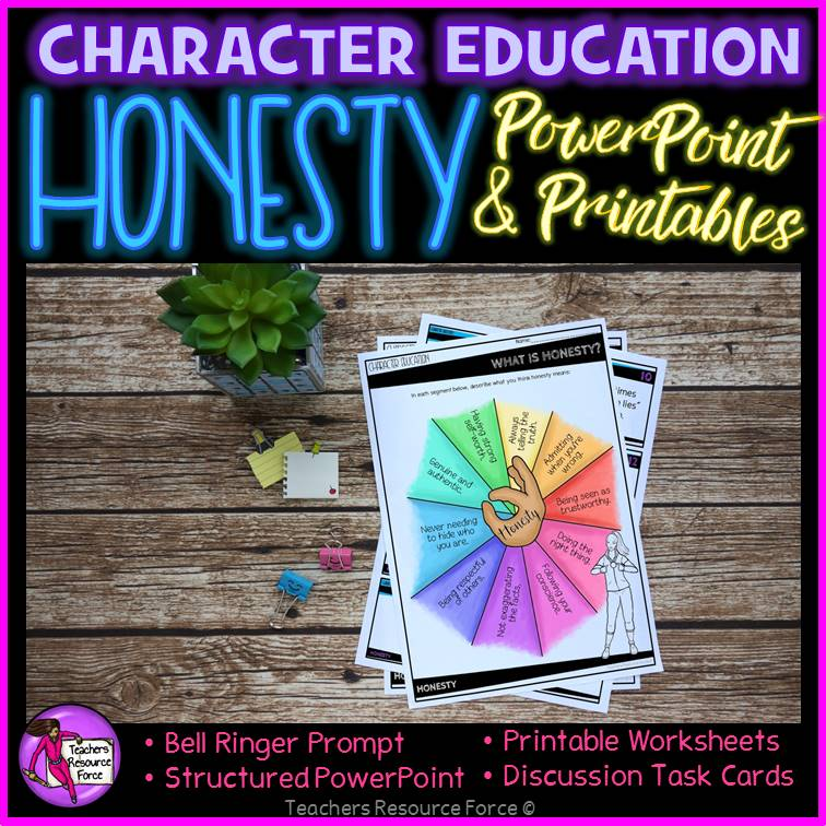 image regarding Printable Task Cards named Honesty Lesson: Personality Education and learning (PowerPoint, Activity Playing cards Printables)