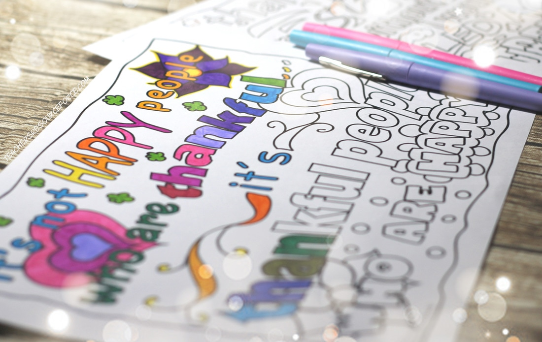 Thankful / Gratitute Quote Colouring Pages and free quote analysis guide @resourceforce